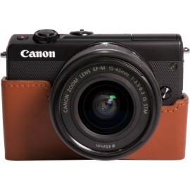 EOS M100 noir + EF-M15-45 S + coque CC-FJ001 marron + 50GB Irista offert