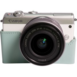 EOS M100 blanc + EF-M15-45 S + coque CC-FJ001 turquoise + 50GB Irista offert