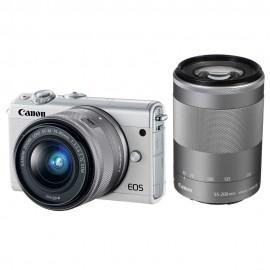 EOS M100 blanc + EF-M15-45 S + M55-200