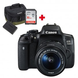 EOS 750D + 18-55mm IS STM + 1 batterie LPE17 + sac Canon 100EG + carte SD 16Go