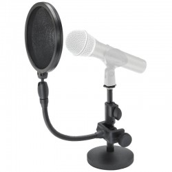 Desktop microphone stand and pop filter