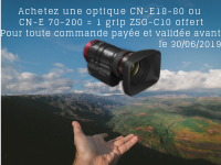 "CANON ""IN THE HEART OF THE ACTION"": a ZSG-C10 grip offered with the purchase of a CN-E18-E80 or CN-E 70-200 optic"